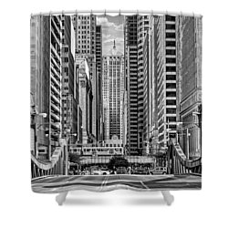 Shower Curtain featuring the photograph Chicago Lasalle Street Black And White by Christopher Arndt