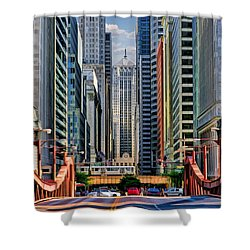 Shower Curtain featuring the painting Chicago Lasalle Street by Christopher Arndt