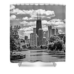 Shower Curtain featuring the painting Chicago Lincoln Park Lagoon Black And White by Christopher Arndt