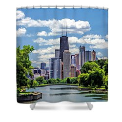 Shower Curtain featuring the painting Chicago Lincoln Park Lagoon by Christopher Arndt
