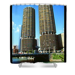Chicago Marina City - Poster Art Shower Curtain by Art America Gallery Peter Potter