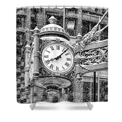 Shower Curtain featuring the photograph Chicago Marshall Field State Street Clock Black And White by Christopher Arndt