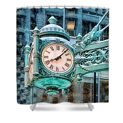 Shower Curtain featuring the painting Chicago Marshall Field State Street Clock by Christopher Arndt