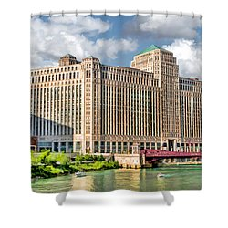 Shower Curtain featuring the painting Chicago Merchandise Mart by Christopher Arndt
