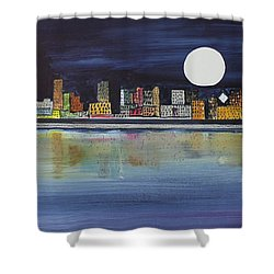 Chicago Moon Shower Curtain by Jack G  Brauer