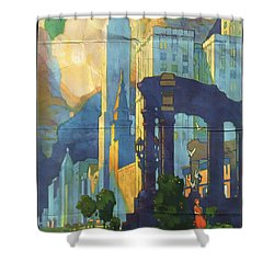 Chicago - New York Central Lines - Vintage Poster Folded Shower Curtain