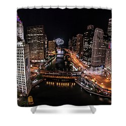 Chicago Night Live - Pano Shower Curtain