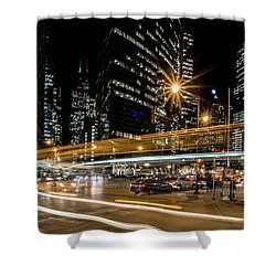 Chicago Nighttime Time Exposure Shower Curtain