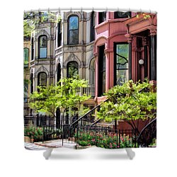 Shower Curtain featuring the painting Chicago North Shore Greystones by Christopher Arndt