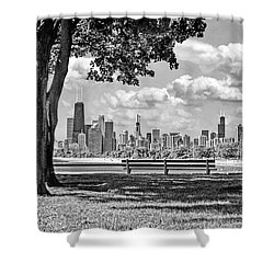 Shower Curtain featuring the photograph Chicago North Skyline Park Black And White by Christopher Arndt