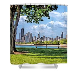 Shower Curtain featuring the painting Chicago North Skyline Park by Christopher Arndt