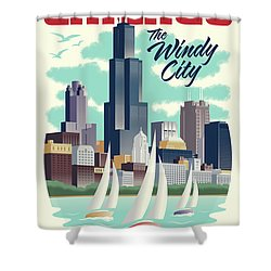 Chicago Retro Travel Poster Shower Curtain by Jim Zahniser