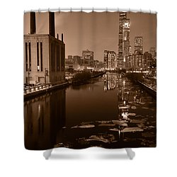 Chicago River B And W Shower Curtain by Steve Gadomski