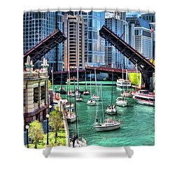Shower Curtain featuring the painting Chicago River Boat Migration by Christopher Arndt