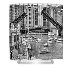 Shower Curtain featuring the photograph Chicago River Boat Migration In Black And White by Christopher Arndt
