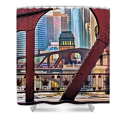 Shower Curtain featuring the painting Chicago River Bridge Framed by Christopher Arndt