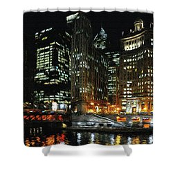 Chicago River Crossing Shower Curtain by Jeff Kolker