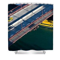 Chicago River Crossing Shower Curtain by Steve Gadomski
