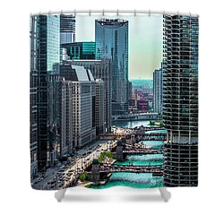Chicago River From Londonhouse Chicago Dsc2290 Shower Curtain by Raymond Kunst