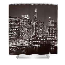 Chicago River Panorama B W Shower Curtain by Steve Gadomski