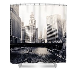 Chicago River Skyline Shower Curtain by Paul Velgos