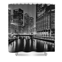 Chicago River View At Night Shower Curtain by Andrew Soundarajan