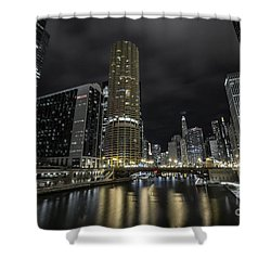 Shower Curtain featuring the photograph Chicago Riverfront Skyline At Night by Keith Kapple