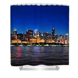 Chicago Shorline At Night Shower Curtain