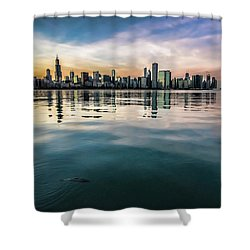 Chicago Skyline And Fish At Dusk Shower Curtain
