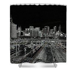 Chicago Skyline And Tracks Shower Curtain by Britten Adams