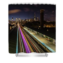 Chicago Skyline And Train Lights Shower Curtain