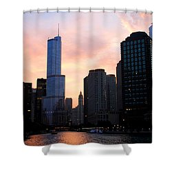 Chicago Skyline At Dusk Shower Curtain
