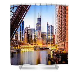 Chicago Skyline At Night And Kinzie Bridge Shower Curtain by Paul Velgos