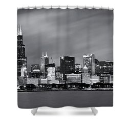 Shower Curtain featuring the photograph Chicago Skyline At Night Black And White  by Adam Romanowicz