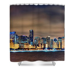 Chicago Skyline At Night Panorama Color 1 To 3 Ratio Shower Curtain by Jon Holiday