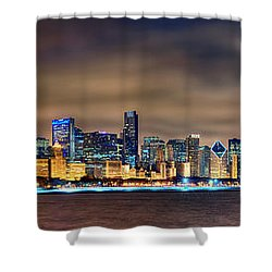 Chicago Skyline At Night Panorama Shower Curtain by Jon Holiday