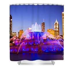 Chicago Skyline At Night With Buckingham Fountain Shower Curtain