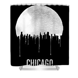 Chicago Skyline Black Shower Curtain by Naxart Studio