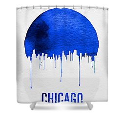 Chicago Skyline Blue Shower Curtain by Naxart Studio