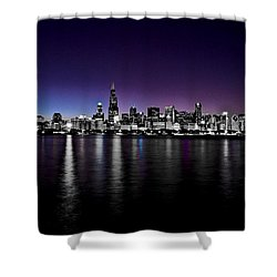 Chicago Skyline Bnw With Blue-purple Shower Curtain