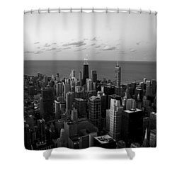 Chicago Skyline Bw Shower Curtain