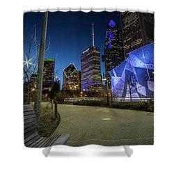 Chicago Skyline Form Maggie Daley Park At  Dusk Shower Curtain