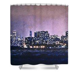 Chicago Skyline From Evanston Shower Curtain by Scott Norris