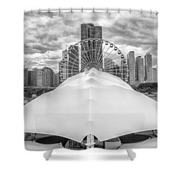 Shower Curtain featuring the photograph Chicago Skyline From Navy Pier Black And White by Adam Romanowicz