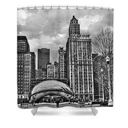 Chicago Skyline In Black And White Shower Curtain by Tammy Wetzel
