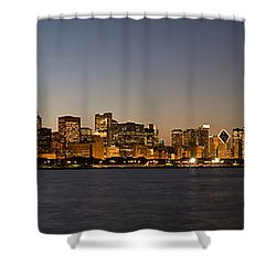 Chicago Skyline Panorama Shower Curtain by Steve Gadomski