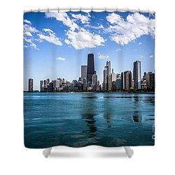 Chicago Skyline Photo With Hancock Building Shower Curtain by Paul Velgos