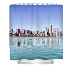 Chicago Skyline Reflecting In Lake Michigan Shower Curtain