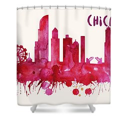 Chicago Skyline Watercolor Poster - Cityscape Painting Artwork Shower Curtain