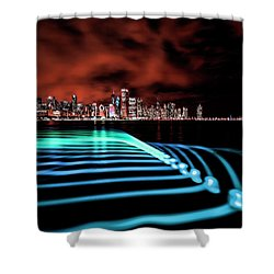 Chicago Skyline With Blue Pixel Stick Light Painting Shower Curtain